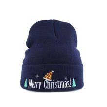 Merry Christmas Embroidery Winter Hats For Women Men Warm Knitted Beanies Cap For For Christmas Party Decoration New Year 2019(China)