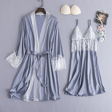 MECHCITIZ 2pcs נשים של שינה טרקלין חלוק משי שמלת סטים סקסי הלבשת Femme הלבשה תחתונה Nightwear שמלת תחרה Homewear חלוק רחצה
