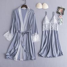 MECHCITIZ 2pcs Womens Sleep Lounge Silk Robe Gown Sets Sexy Sleepwear Femme Lingerie Nightwear Dress Lace Homewear Bathrobe