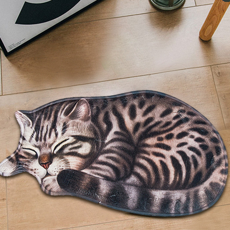 Creative Big 3D Print Sleeping Cat Doormats Hallway Doorway Carpet Living Room Bedroom Anti-slip Floor Mats Kitchen Balcony Rugs