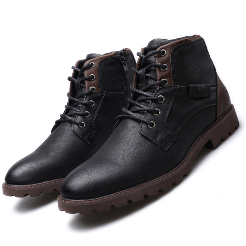 vintage casual leather boots black