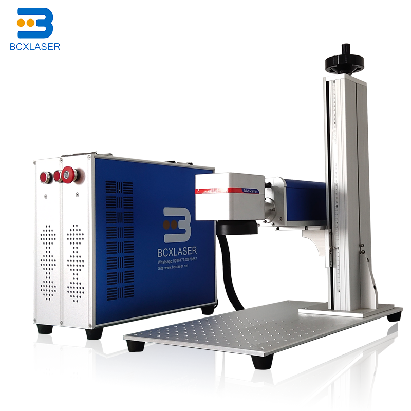 20w/30w/50w/100w Red/blue Color Fiber Laser Marking Machine Price /fiber Laser Engraver/laser Marker With Rotary On Metal