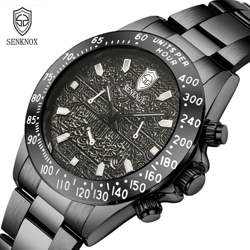 SENKNOX Brand Mens Wristwatches Quartz Stainless Steel Man Watches Waterproof Black Male Clocks Luxury