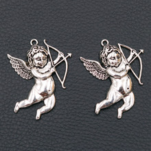 Retro Cupid Pendant Love Charm Angel God Arrow Tibetan Silver Valentines Gift 46*36mm A171 4pcs