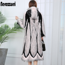 Nerazzurri runway 2020 patchwork faux fur coat with hood pink long winter women fashion coats plus size color block outwear 7xl