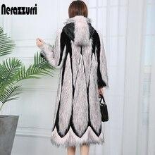 Nerazzurri runway 2020 retalhos casaco de pele do falso com capuz rosa longo inverno moda feminina casacos plus tamanho cor bloco outwear xl xxl xxxl 4xl 5xl 6xl 7xl
