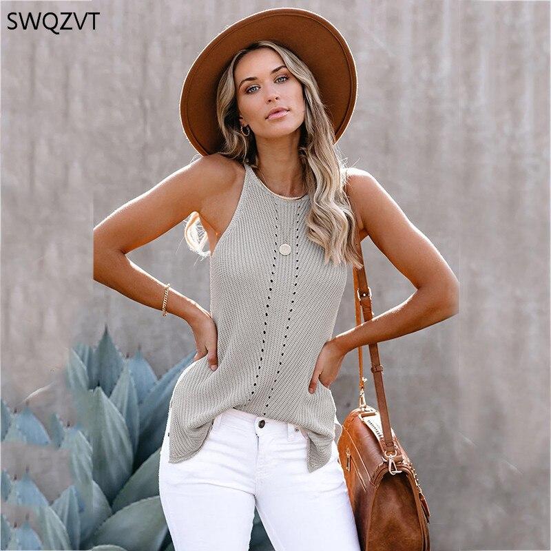 SWQZVT Summer New Arrival Women Top Round Neck Knitted Shoulder Strap Women Tank Tops 2020 Fashion Sleeveless Ladies Tank Vest(China)