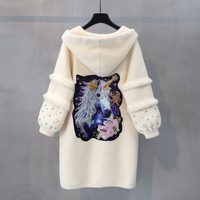 2019 coat female long section winter new loose single breasted solid color long sleeved pocket thick warm plush fur coat