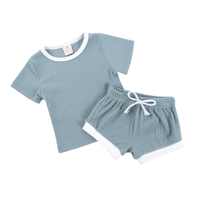 2Pcs Baby Clothes Summer Toddler Infant Girls Boys Clothes Cotton Casual Short Sleeve Tops T-shirt+Shorts Baby Outfit Set 4