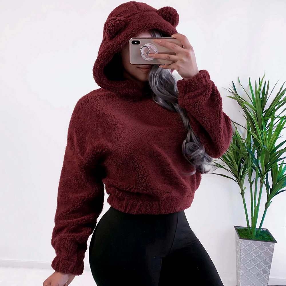 2019 Lovely Soft Hoodies With Bear Ears Women Solid Fleece Hoody Winter Plush Warm Pullovers Campus Preppy Casual Sweatshirts