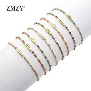 ZMZY Boho Gold Color Link Chain Stainless Steel Bracelets for Women Bracelet Jewelry Tiny Feather Charm Bracelet Femme Pulseira