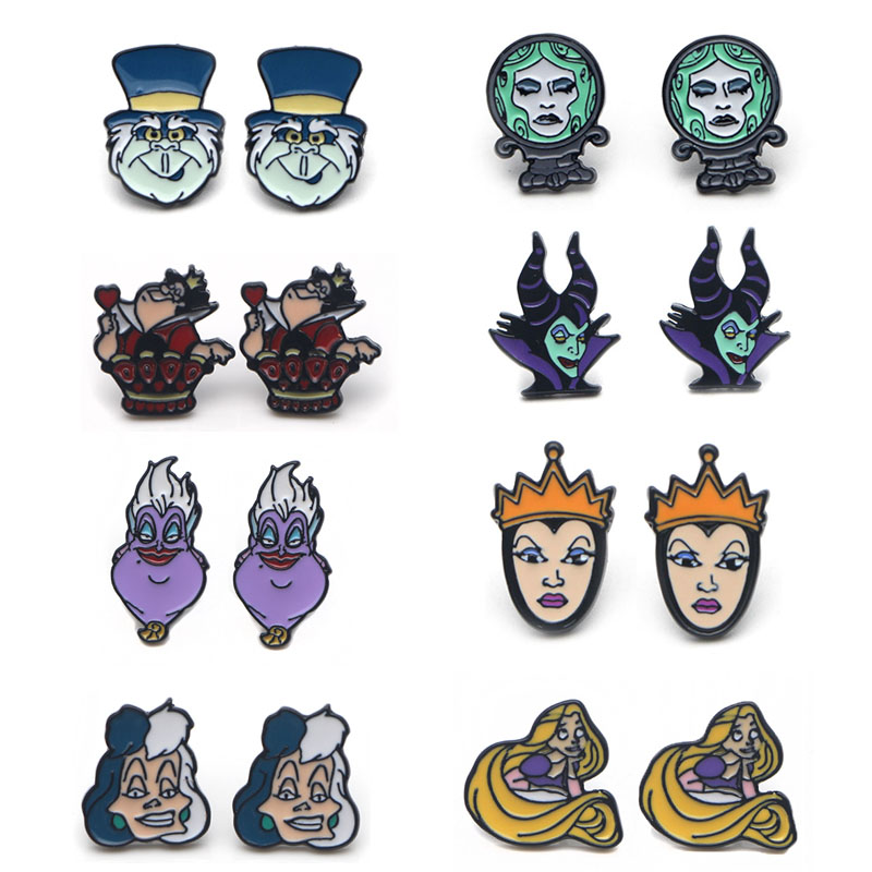 K427 1 Pair The Evil Queen Ear Stud Earring For Women Cartoon Studs Fashion Jewelry Prevent Allergy Kids Gifts