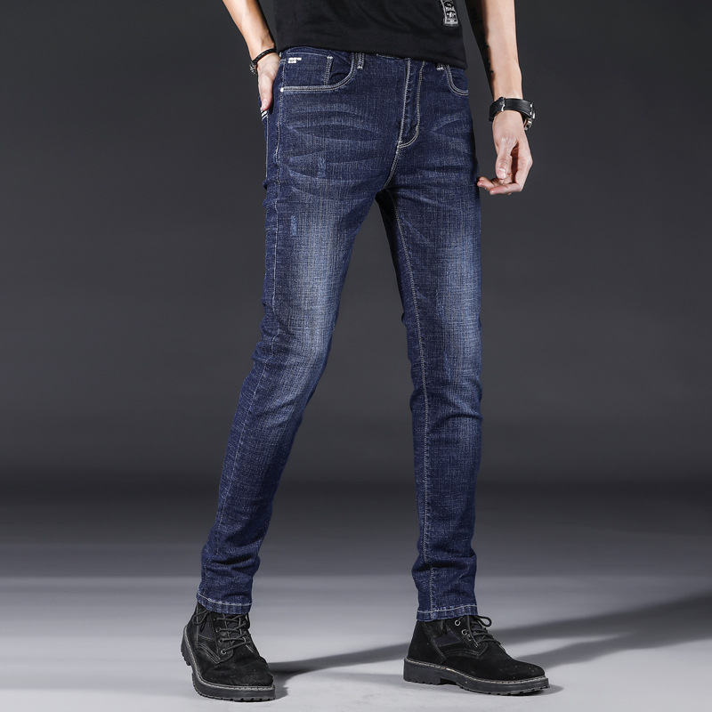 2019 New Style Jeans Men's High Quality Slim Fit Pants Elasticity Two-color Selectable