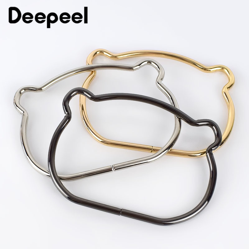 2/4pcs Iron Ring Metal Bag Handles Buckles For Women Handbag Purse Lock Decoration Clasp Handle Connector DIY Bag Accessories