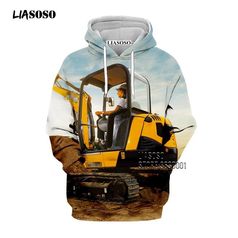 LIASOSO Tractor Excavator Bulldozer 3D Print Women Men's Sweatshirts Hooded Hoodies Sweatshirt Casual Pullovers Tracksuits