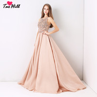 TaoHill 2020 Beading Sequins Real Sleeveless Formal Prom Dress Design Champagne Gold Evening Dresses