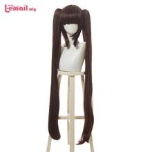 L email wig Game Nekopara Peluca de Cosplay de Chocolate y vainilla, coletas largas para Halloween, pelo sintético resistente al calor