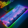 Moon Landscape Large RGB Gaming MousePad With Backlight XXL Gamer Mouse Pad Non-Slip Computer LED Light Mouse Mat PC Accessories
