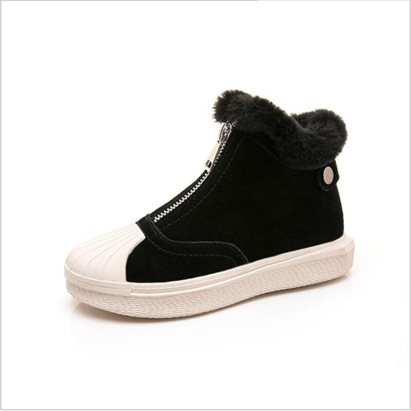 Winter Girls Boots For Kids Shoes Children Boots Warm Plush Inside Zip Girls Snow Boots Round Toe Fashion Bota Infantil 2019