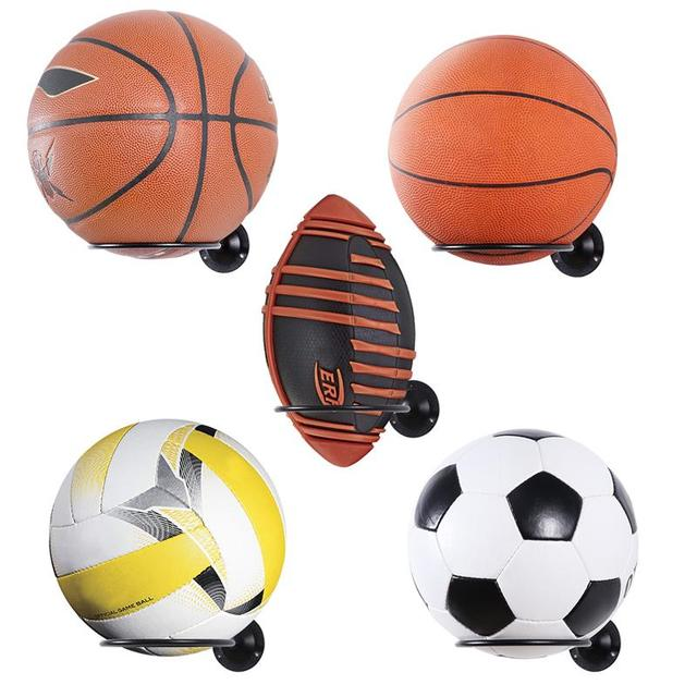 2PCS Wall Mounted Ball Holders Display Racks for Basketball Soccer Football Volleyball Exercise Ball Black Home Organizer Rack