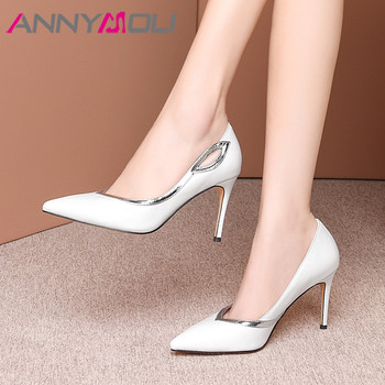 ANNYMOLI High Heels Women Pumps Natural Genuine Leather Thin High Heels Shoes Real Leather Pointed Toe Party Shoes Female 33-39
