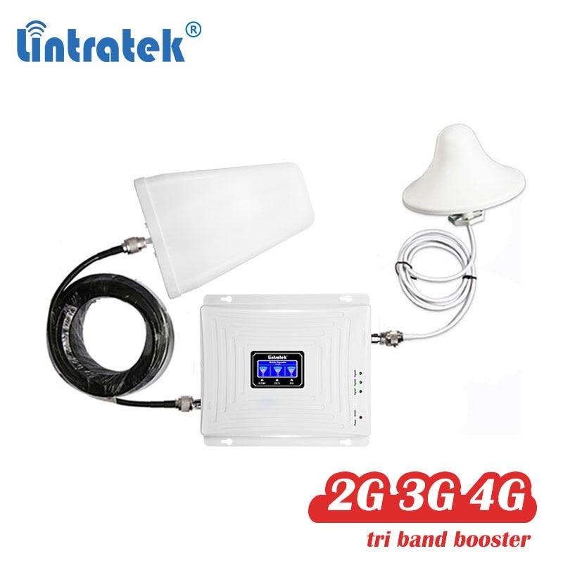 Lintratek 2G 3G 4G Tri Band Signal Booster Cellular Repeater GSM UMTS LTE DCS Amplifier Cellphone 900/1800 /2100mhz 2600 Set 53