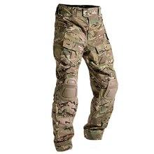 マルチカム迷彩militarタクティカルパンツ陸軍軍服ズボンカエル戦闘貨物なし膝パッド