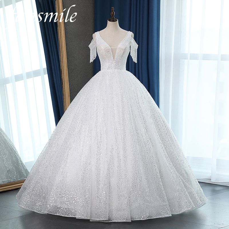 Fansmile Beads Sleeve Vestido De Noiva Squeins Lace Wedding Dresse 2020 Plus Size Customized Wedding Gowns Bridal Dress FSM-055F
