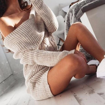 Shoulder Sweater Knitted Dress Women Long Sleeve Autumn Winter Loose Tunic Casual Solid Dresses