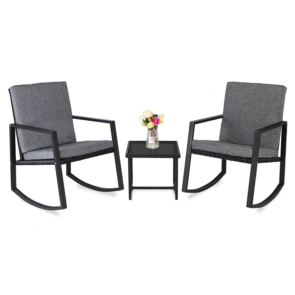【US Warehouse】3 PCS Rocking Chairs Set Outdoor Patio Furniture With Glass Coffee Table (Black) (Outdoor Rattan Sofa)