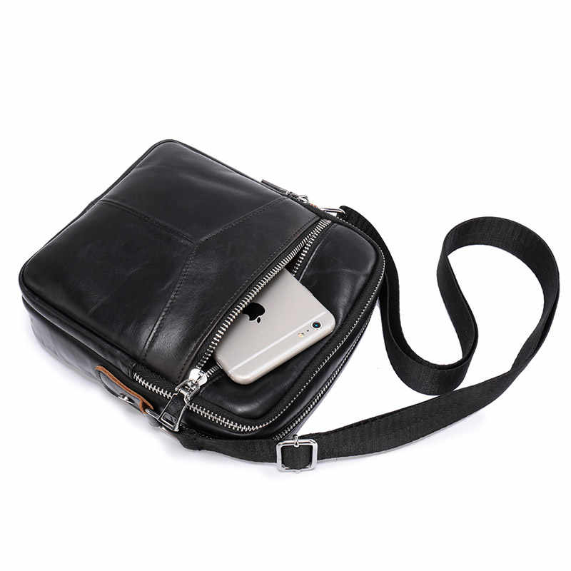 High Quality Men's Genuine Leather Briefcases Middle Size Male Leather Messenger Bags Black Men Shoulder Bag Cross body Bags