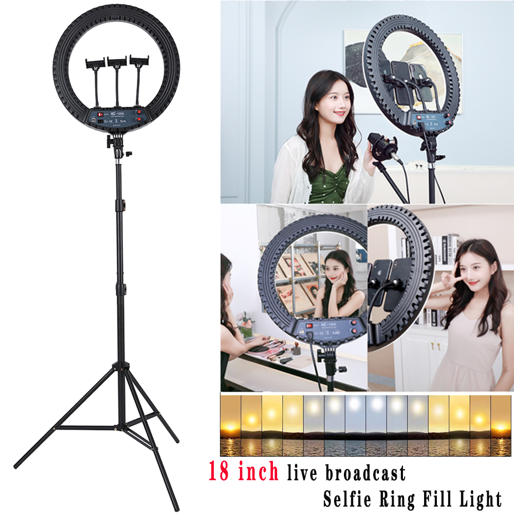 Selfie Ring Fill Light 18inch Multi-camera Dimmable Camera Phone Ring Lamp beauty and brightening fill light Makeup Video Live image