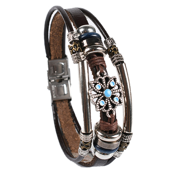 Hot Sale Stainless Steel New Design Retro Fashion Cuff Bracelet Retro Leather Bracelet Ladies Men's Accessories image