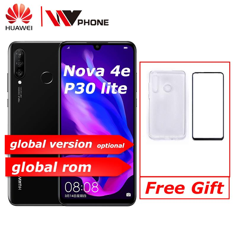 Huawei Nova 4e Huawei P30 Lite Mobile Phone  6.15 Inch 3 Rear Camera Kirin710 Octa Core Face ID Android 9.0 Fingerprint Id