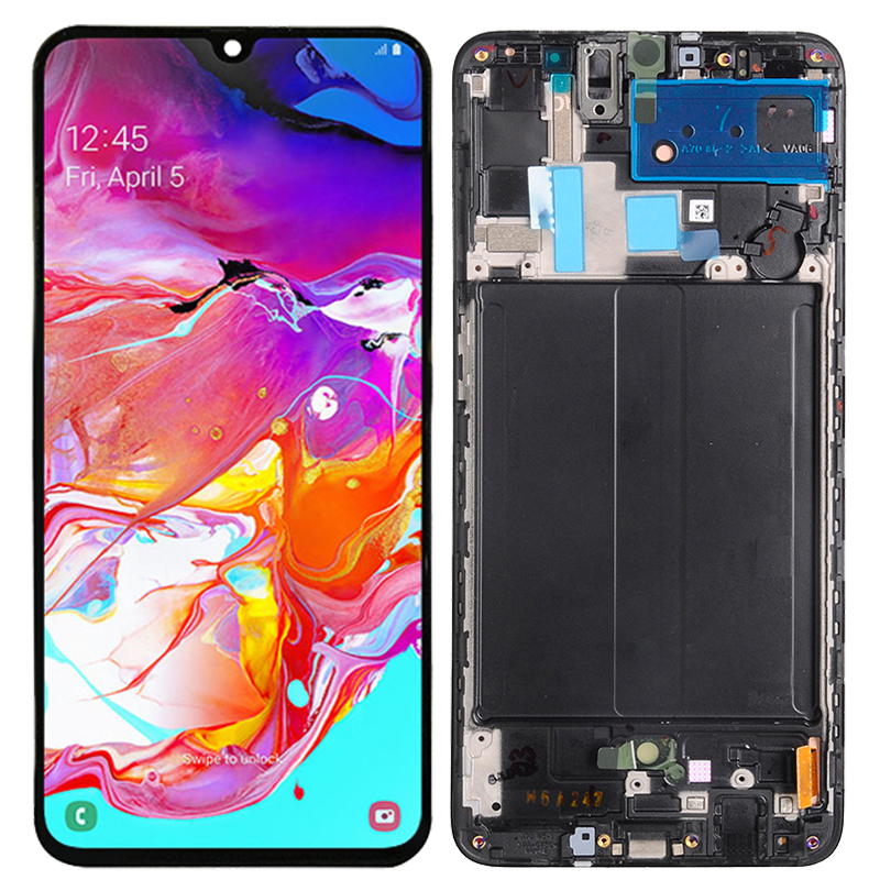 Original A70 LCD For Samsung Galaxy A70 LCD With Frame SM-A705F A705F/DS Super Amoled Display Touch Screen Digitizer Assembly