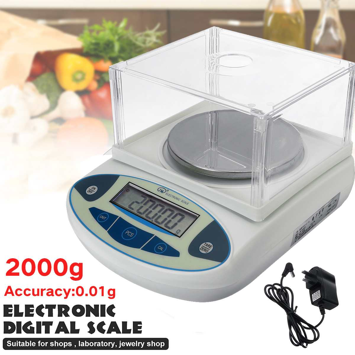 New Electronic Digital Scale LCD Lab Laboratory Analytical Balance Precision Jewelry Scale Mini Portable Weight Scale 2000x0.01g