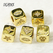 10 pieces  Golden cubic pendants cubic beads accessories for bracelets and necklace making zircon paved fashion jewelry   50266