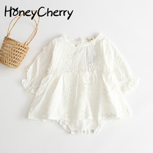 Baby girl Bodysuit Lady pure white embroidered long-sleeved cotton dress bobysuit climbing clothes Newborn Baby Girl Clothes
