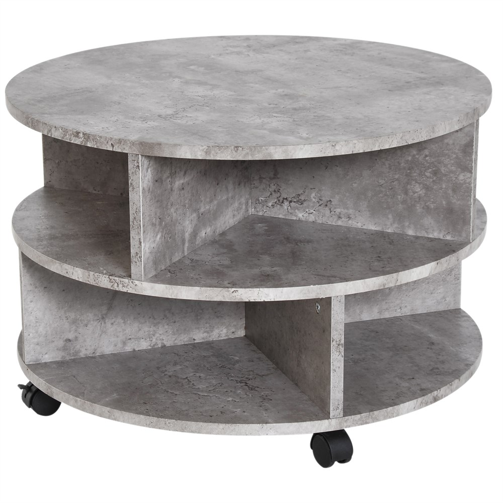 HOMCOM Coffee Table Modern Effect Cement With Storage Box Living Room Coffee Wood Chipboard Φ60X39.5 Cm Gray