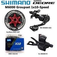 シマノ DEORE M6000 グループセット MTB マウンテンバイクグループセット 1x10 Speed 11 42 T/46 T M6000 シフターリアディレイラー KMC チェーン SunRace|自転車変速装置|   -