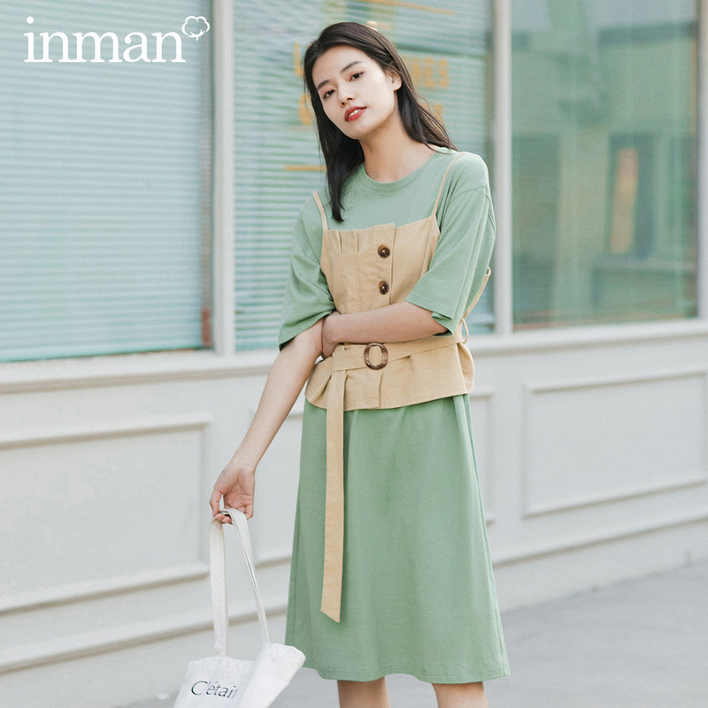 INMAN 2020 Summer New Arriavl Dissymmetry Nipped Waist Waistcoat With Short Sleeve Dress Two-piece Dress