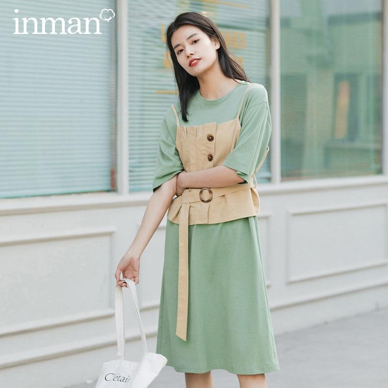 INMAN 2020 Summer New Arriavl Dissymmetry Nipped Waist Waistcoat With Short Sleeve Dress Two-piece Dress