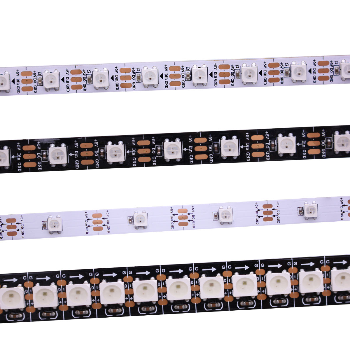 Image 1 - 1m/5m WS2812B Smart led pixel strip,Black/White PCB,30/60/144 leds/m WS2812 IC;WS2812B/M 30/60/144 pixels,IP30/IP65/IP67 DC5V-in LED Strips from Lights & Lighting
