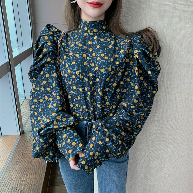 Alien Kitty Stylish Florals Loose Gentle Puff Sleeves Stand Shirts 2020 Print Sweet Vintage Chic Fashion Elegant Women Blouses