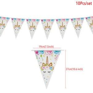 Image 3 - Tęczowa opaska jednorożec banery papierowe jednorożec dekoracje na imprezę urodzinową dla dzieci impreza jednorożec wiszące Garland flagi przybory dla niemowląt