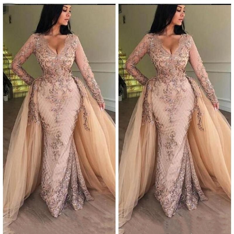 2020 New V Neck Lace Mermaid Prom Dresses Long Sleeves Tulle Applique Floor Length Formal Party Evening Dresses With Detachable