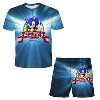 Camiseta de Sonic 3D para niños, ropa de dibujos animados de verano, transpirable, con cuello redondo, manga corta, 4-14T