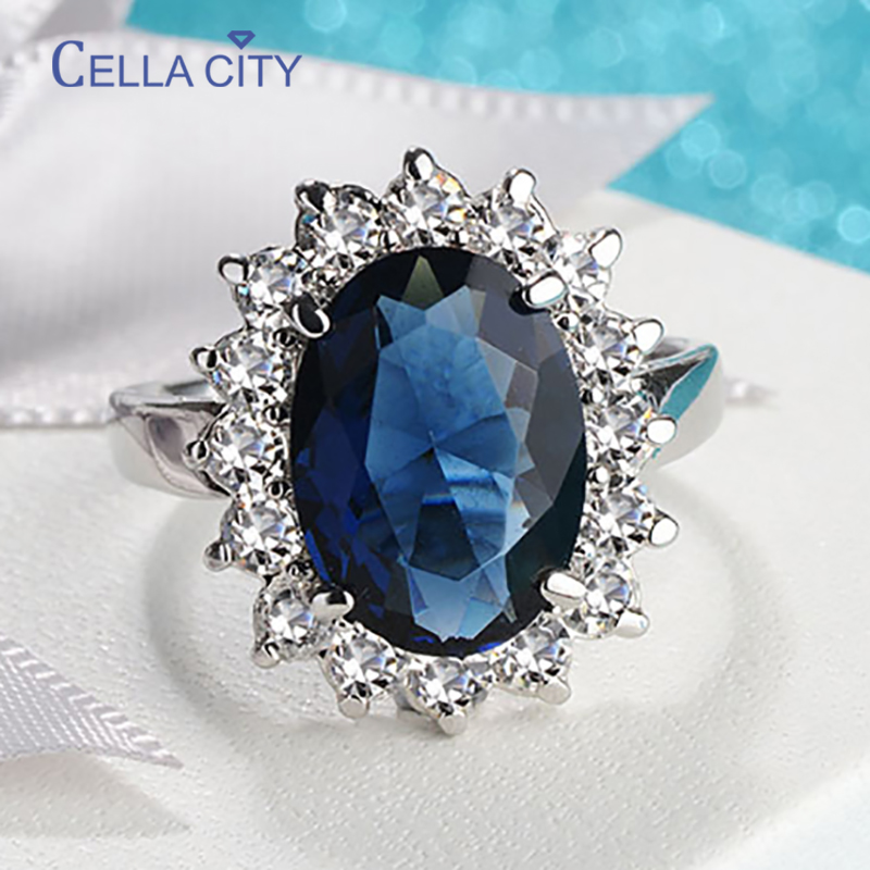 Cellacity Oval Sapphire Rings for Women Trendy Silver 925 Fine Jewelry with Gemstones Flower shaped Female Engagement Ring Gifts
