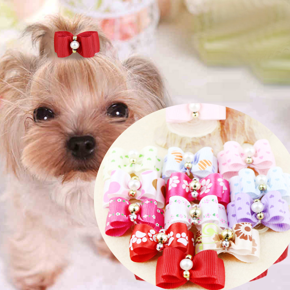 10pcs/set Dot Bowknot Mixed Colors Pet Dog Hair Bows Dog Grooming for  Dog Puppy Pet Cat Bowknot Puppy Rubber Band 3*2cm