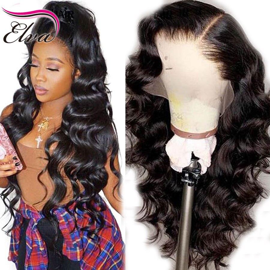 Elva cheveux dentelle avant perruques de cheveux humains brésilien vague de corps dentelle avant perruque pré plumé faux cuir chevelu perruques pour les femmes noires Remy cheveux